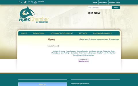 Screenshot of Press Page apexchamber.com - News - Apex Chamber of Commerce - captured Feb. 6, 2016