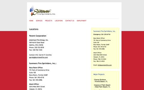 Screenshot of Locations Page summersfire.com - 24 Hour Emergency Fire Sprinkler Service | Summers Fire Sprinklers, Inc. - captured Oct. 8, 2014