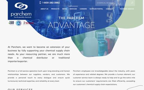 Screenshot of Services Page parchem.com - specialty chemical companies - specialty chemicals company - specialty chemicals distributors - specialty chemical suppliers - captured Oct. 20, 2016
