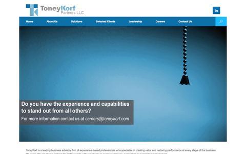Screenshot of Jobs Page toneykorf.com - Careers | ToneyKorf Partners LLC - captured Oct. 9, 2014