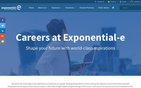 Screenshot of Jobs Page exponential-e.com - Careers at Exponential-e - Exponential-e Ltd. - captured Aug. 18, 2018