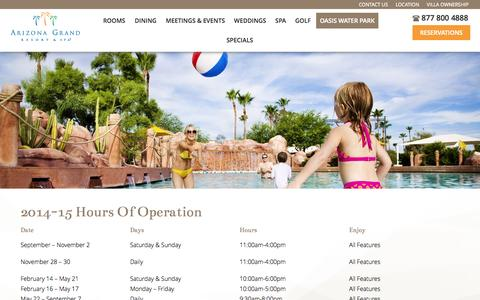 Screenshot of Hours Page arizonagrandresort.com - Hours of Operation - Arizona Grand Resort & Spa - captured Nov. 2, 2014