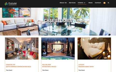 Screenshot of Case Studies Page prohotels.com - Case Studies – Prohotel - captured Sept. 4, 2017