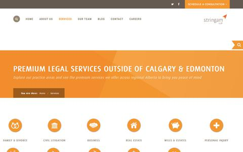 Screenshot of Services Page stringam.ca - Services - Stringam LLP. - captured Nov. 9, 2017