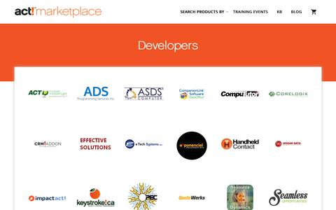 Screenshot of Developers Page actaddonshop.com - Developers - act!marketplace - A Global Community of certified Act! developer Add-ons - captured Oct. 21, 2018