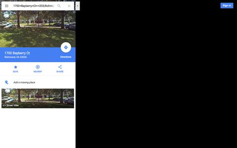 Screenshot of Maps & Directions Page google.com - 1700 Bayberry Ct - Google Maps - captured Feb. 15, 2016