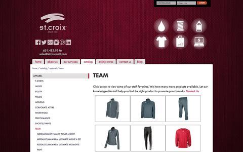 Screenshot of Team Page stcroixprint.com - Team Apparel :: St. Croix - captured Jan. 12, 2016