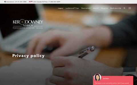 Screenshot of Privacy Page ker-downeyafrica.com - Privacy Policy | Ker & Downey® Africa - captured Oct. 15, 2018