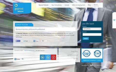 Screenshot of Home Page geprost-telecom.com - Geprost Telecom - captured Sept. 26, 2014