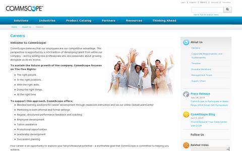 Screenshot of Jobs Page commscope.com - Careers - captured July 20, 2014