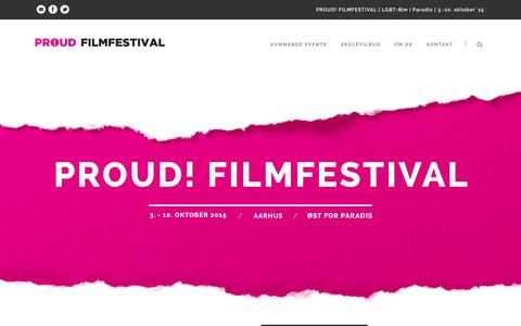 Screenshot of Home Page proud.dk - PROUD! Filmfestival - LGBT-film i Paradis - captured July 17, 2015