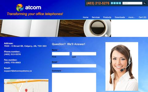 Screenshot of Contact Page atcomsystems.ca - Calgary Telephone Companies - Atcom - captured Oct. 4, 2014