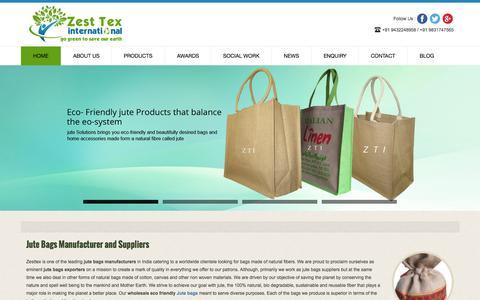 Screenshot of Home Page zesttex.com - Zesttex - Wholesale Jute Bags Manufacturers & Suppliers in USA - captured Nov. 17, 2015