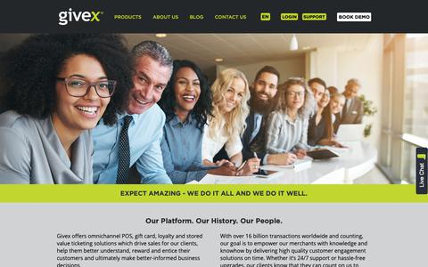 Screenshot of About Page givex.com - About Us - Givex - captured Dec. 15, 2018