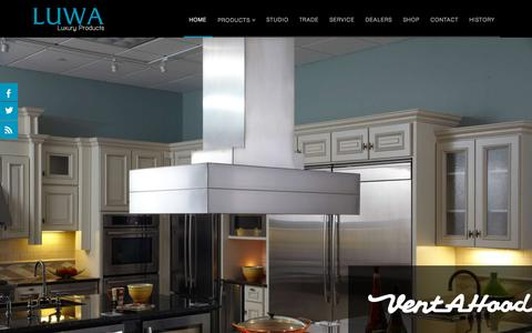 Screenshot of Home Page luwaluxury.com - Home | LUWA Distributing | Fine Appliances and Services - captured Sept. 17, 2015