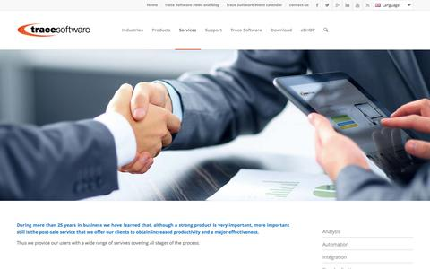 Screenshot of Services Page trace-software.com - Trace Software Services | Trace Software International - captured Feb. 2, 2016