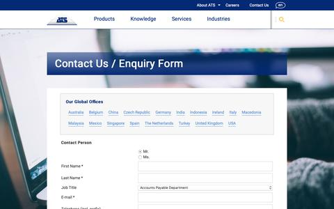 Screenshot of Contact Page ats-global.com - Contact Us | ATS Global - captured Oct. 2, 2018