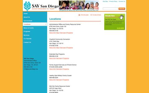 Screenshot of Locations Page saysandiego.org - Locations - captured Oct. 3, 2014