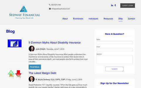 Screenshot of Blog sedwayfinancial.com - Blog | Sedway Financial - captured June 21, 2016