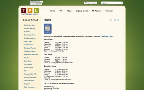 Screenshot of Hours Page tularepubliclibrary.org - Hours - captured Oct. 2, 2014