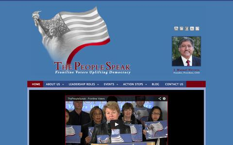 Screenshot of Home Page thepeoplespeak.net - The People Speak, Frontline Voters - captured Oct. 9, 2014