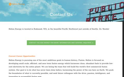 Screenshot of Contact Page helionenergy.com - Contact Us – Helion Energy - captured July 18, 2018