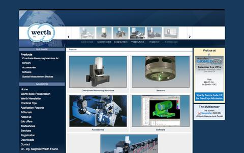 Screenshot of Products Page werthinc.com - Werth Inc. - Werth Inc. - captured Nov. 5, 2014
