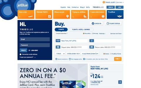 Screenshot of Home Page jetblue.com - JetBlue | Airline Tickets, Flights, and Airfare - captured March 3, 2017