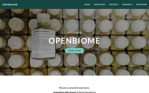 Screenshot of Home Page openbiome.org - OpenBiome - captured Sept. 21, 2018