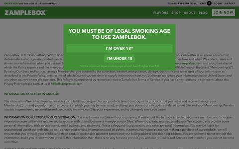 Screenshot of Privacy Page zamplebox.com - ZampleBox E-Juice Subscriptions | Privacy Policy - captured Nov. 26, 2015