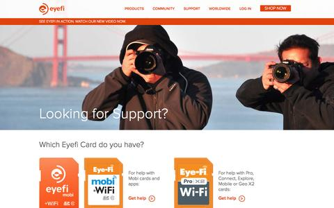 Screenshot of Support Page eyefi.com - Support | Eyefi - captured Sept. 12, 2014