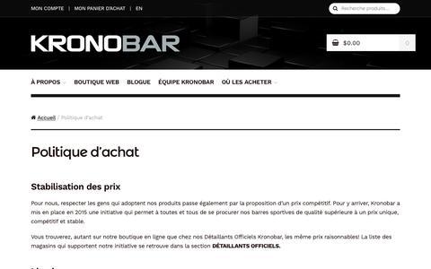 Screenshot of Terms Page kronobar.com - Politique d'achat - KRONOBAR - captured Aug. 8, 2016
