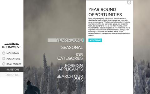 Screenshot of Jobs Page intrawest.com - Intrawest - A Leader in Experiential Destination Resorts - - captured Oct. 29, 2014