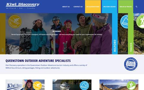 Screenshot of Home Page kiwidiscovery.com - Ski Packages Queenstown, Milford Sound NZ, Great Walks New Zealand - captured Jan. 9, 2016