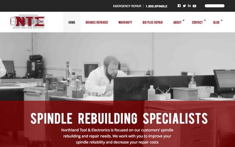 Screenshot of Home Page northlandtool.com - Northland Tool & Electronics | Spindle Rebuilding Specialists - captured Oct. 9, 2014