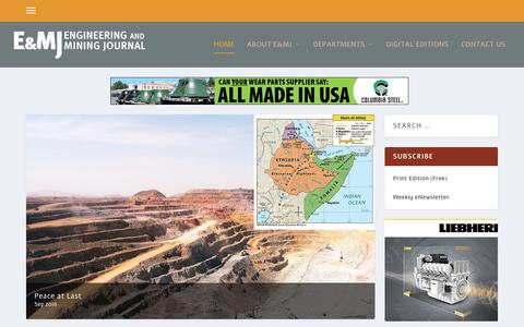 Screenshot of Home Page e-mj.com - E & MJ | Engineering & Mining Journal - captured Sept. 24, 2018