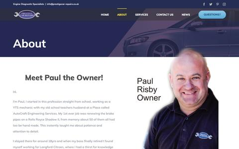Screenshot of About Page prestigecar-repairs.co.uk - About - Prestige Car Repairs - captured June 16, 2019