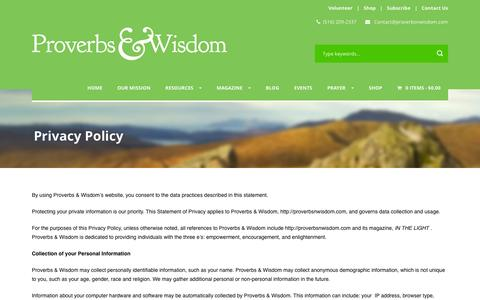 Screenshot of Privacy Page proverbsnwisdom.com - Proverbs & Wisdom   » Privacy Policy - captured Feb. 1, 2016