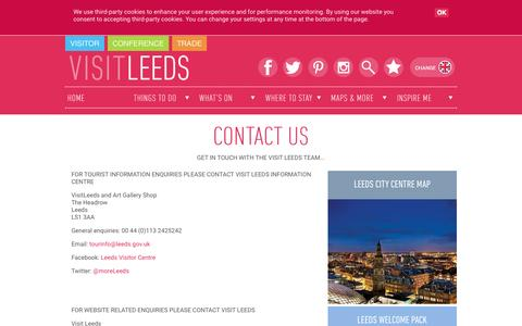 Screenshot of Contact Page visitleeds.co.uk - Contact Us - captured Oct. 14, 2015