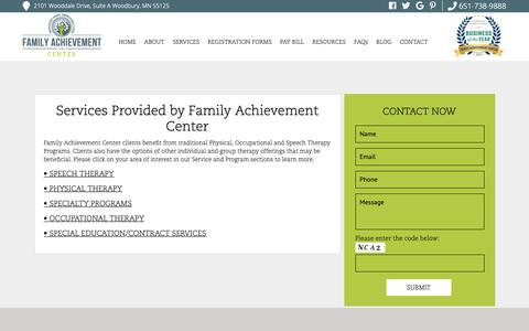Screenshot of Services Page familyachievement.com - Physical, Occupational and Speech Therapy | Family Achievement Center - captured Oct. 10, 2018