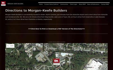 Screenshot of Maps & Directions Page morgankeefe.com - Directions to MKB - captured Feb. 18, 2016