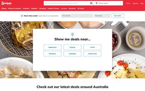 Screenshot of Home Page scoopon.com.au - Australia Deals - Discount Hotels, Restaurant Deals & More   Scoopon - captured Nov. 6, 2018