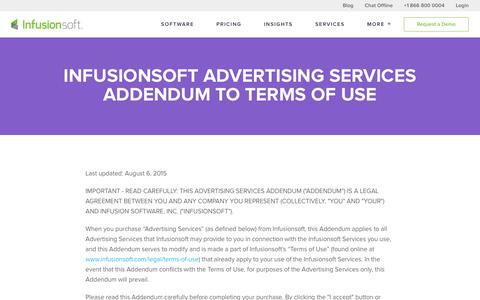Infusionsoft Advertising Services Addendum to Terms of Use