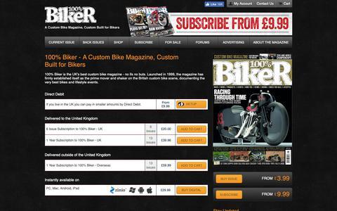 Screenshot of Home Page 100-biker.com - 100% Biker - A Custom Bike Magazine, Custom Built for Bikers   100% Biker - captured Nov. 22, 2018