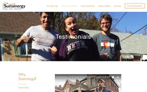 Screenshot of Testimonials Page sustainergy.coop - Sustainergy Cooperative - captured Nov. 10, 2017