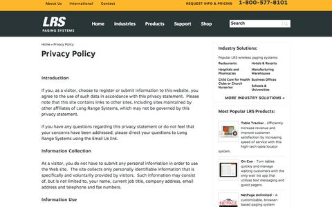 Screenshot of Privacy Page pager.net - Privacy Policy | Pager.net - captured Sept. 25, 2018