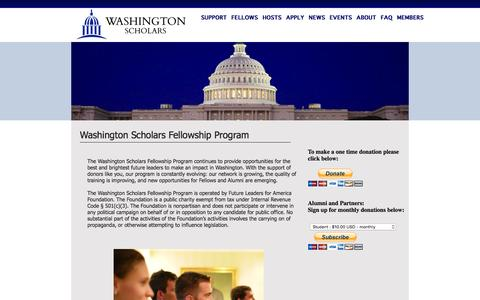 Screenshot of Support Page washingtonscholars.org - Washington Scholars - captured Feb. 10, 2016
