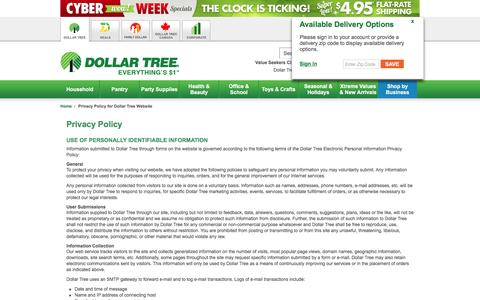 Dollar Tree, Inc.: Privacy Policy for Dollar Tree Website