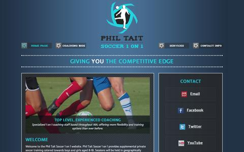 Screenshot of Home Page 1on1soccer.com - Phil Tait Soccer 1 on 1 - Home - captured Oct. 2, 2014