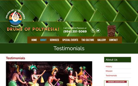 Screenshot of Testimonials Page drumsofpolynesia.com - Drums Of Polynesia - captured Oct. 9, 2018